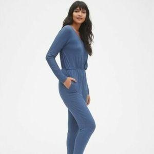 Gap Long Sleeve Wrap Jumpsuit Chrome Blue XL Tall